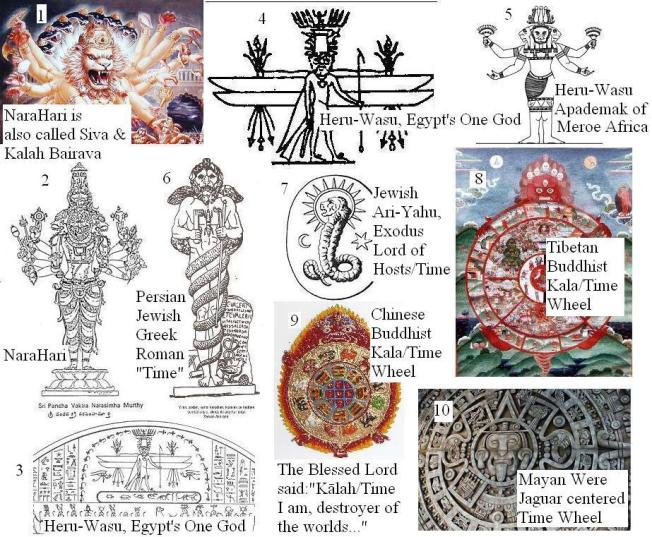 This is a very brief summary of some of the main connections between the ancient civilizations that worshiped the Supreme Lord as Lion-Headed Kalah / Time. To the Indic Vaishnavas He was Krishna-Vishnu as Nara-Hari Kalah. He, Kalah, is the central Wrathful Cosmic Theophany of All-Devouring Time in His Bhagavad-gita Revelation. Shaivites consider Kalah / Time to be a Form of Shiva. Hari (Krishna-Vishnu) or Hara (Siva) is worshiped throughout the Range of Pure Land Mahayana Buddhism as Kalah Bairab, Kalah-Purusha and Kala-Chakra (with His Time Wheel). The ancient Persians worshiped their Supreme Lord as Lion-Headed Time (Zurvan or Aeon). Later the Zoroastrians and Mithras worshipers retained Him as the Father of the gods. The Greeks called Him Kronus/Time and at first they worshiped Him as the Father of the gods. The Romans called Him Jupiter-Saturnus and worshiped Him as the Father of the gods. The Greeks' Kronos, and Romans' Jupiter-Saturnus was identified with the God of the Jews and the Lion-Headed Time Form of the Egyptians' Supreme Deity.