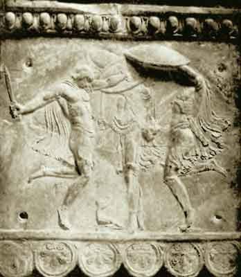 Ancient relief depicting the Kouretes dancing around Baby Zeus (Kouros).