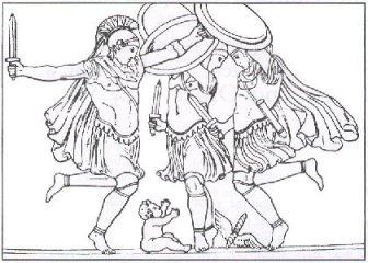 Modern etching of Ancient relief depicting the Kouretes dancing around Baby Zeus (Kouros)
