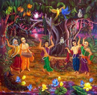 Sri Panchatattva Dancing in the Forest