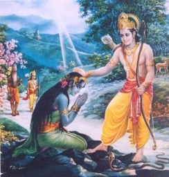Lord Ramachandra liberates  Ahalya from the curse of Sage Gautama