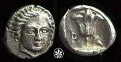 Caria, Islands off. Rhodes. Circa 408-394 BC. AR Hemidrachm (1.87 gm). Facing head of Helios / P O, rose in incuse square