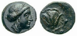 Carian Islands, Rhodes. ca 350-300 BC. AE 11mm. Diademed head of the Goddess Rhodos (Radha) right, in earring & necklace / P-O, rose with bud to the right; uncertain symbol left.