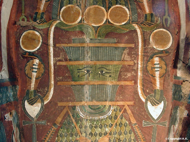 Lid of painted sarcophagus with representation of the sacred pillar Djed, symbol of Osiris