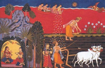 King Janaka Unearths Baby Sita who is Born of the Earth Goddess Sri Sita was born as Janaki or daughter of King Janak but later renamed as Sri Sita Devi by Maharishi Naradh Muni.She was actually given to King Janak by the Earth Goddess or Bhuma Devi whilst he was ploughing a piece of land during a prolonged period of drought in the Treta Yuga He unearthed a golden casket in which he found a beautiful baby girl. Overjoyed he named her Sita because land ploughed by a yoke is called Sita.