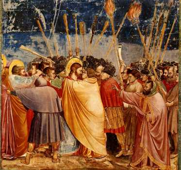 """Judas betrays Jesus with a kiss. Judas Iscariot, one of the Twelve Apostles, became an Apostate."" Judas küsst Jesus (Fresko in der Capella degli Scrovegni, Padua Date 1304-1306, Hanover College)"