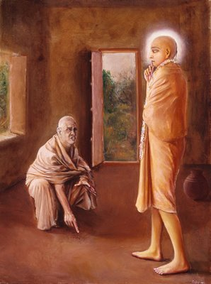 Ramachandra Puri chastising Lord Chaitanya seeing ants in His room.  The Monk developed an envy of Sri Chaitanya Mahaprabhu after having had earlier committed an offense against his Guru Madhavendra Puri.