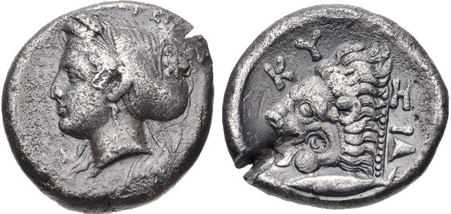 MYSIA, KYZIKOS, Circa 390-341/0 BC. AR Tetradrachm (23mm, 14.85 g, 3h). Wreathed head of Kore Soteira left, hair in sphendone covered with veil / Head of lion left; below, tunny fish left; pilos to right. An issue with very fine Greek numismatic art especially the head of Kore.