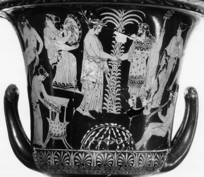 Apollo and Dionysus at Delphi, Attic vase, fourth century BC. The ecstatic aspect of Apollo's oracle brought it into natural alliance with the religion of Dionysus, who ruled Delphi during the three winter months while Apollo was away among the Hyperboreans. Even the grave of Dionysus could be seen in Apollo's precinct. Apollo, shown as a beardless youth with a crown of laurel, bids goodbye to Dionysus, bearded and wearing tragic garb and carrying a special staff (the thyrsus). Beneath them is the Delphic omphalos or navel, said to be the stone that Cronus swallowed instead of Zeus, and behind them a palm tree, a symbol of Apollo. The other figures are maenads and satyrs, followers of Dionysus (for which see Chapter 10). (© The State Hermitage Museum, St. Petersburg, Russia) Source: Classical Myth  7th Edition. Barry B. Powell
